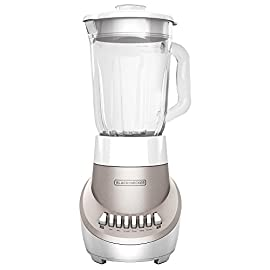BLACK+DECKER BL1110RG FusionBlade Blender with 6-Cup Glass Jar, 12-Speed Settings, Red Blender 128 12 Speeds + Pulse - Find the perfect blending power for everything from sauces to smoothies with 12 speed settings. The pulse function lets you create the perfect consistency 6-cup Glass Jar - The durable 6-cup (48oz.) glass jar is designed to increase blending efficiency. Its thick walls allow for safe blending of hot soups and more 550W Power - Tough blending is no match for the powerful motor inside this blender