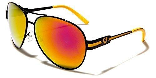 beachhutsunglasses Sol Gafas Negro Bolsa Hombre Rojo UV400 Conducción INCLUIDO Deporte GRATIS Espejo De KHAN Aviador Moda Amarillo Protección Lente SEPAqIxx