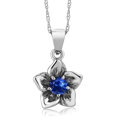 (Gem Stone King 18K White Gold Flower Pendant Necklace (0.24 Ct Round Blue Sapphire with 18 Inch Chain))