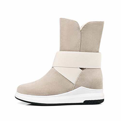 Carolbar Womens Warm Comfort Pull-On Casual Shearling Snow Boots Beige Cg1Pmi4d