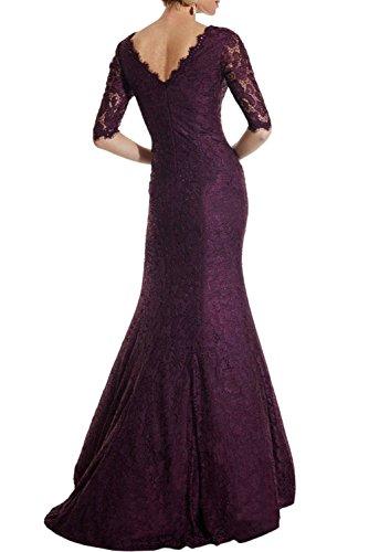 Langarm v Elegant Kleider Braut mia Brautmutterkleider Flieder Meerjungfrau Ausschnitt Abendkleider Spitze La Lang Etuikleider wqHY4I