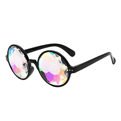 OULII 4D Kaleidoscope Glasses Rainbow Sunglasses Goggles for Festivals Rave Light Show (Black Frame without Holes)
