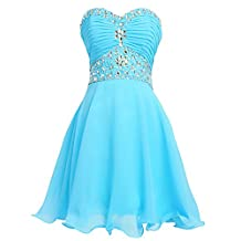 Fashion Plaza Short Chiffon Strapless Crystal Homecoming Dress D0263