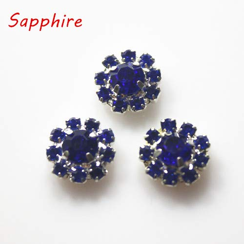 Maslin 50Pcs/lot 12mm Flower Rhinestone Metal Buttons Embellishments Flatback Wedding Decoration Accessory - (Color: Sapphire)