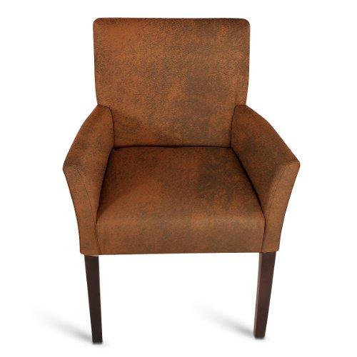 SAM® Stoff Armlehnstuhl wildlederoptik kolonial MODICA Stuhl schlicht Polster elegant komfortabel Lieferung erfolgt über Paketdienst teilzerlegt