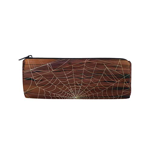 Customize Personalized Pen Case Halloween Spider Web Drum Pencil Holders Large Capacity Pouch Makeup Cosmetic Boxes School Office Travel Bag