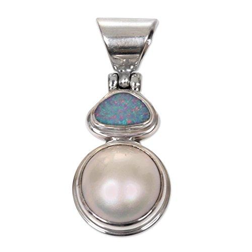 NOVICA White Cultured Mabe Pearl .925 Silver Pendant, 'Eclipse of White'