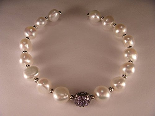 Estate Gold Bracelet (Stunning Estate 14K White Gold Pearl Tanzanite Bangle Bracelet)