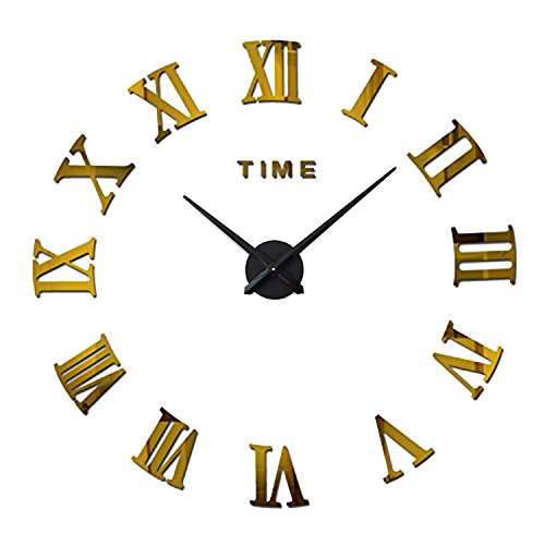 FORUSKY Large 3D DIY Frameless Mirror Surface Roman Numerals Wall Clock Wall Sticker for Living Room,Bedroom, Home,Office Decor – Gold For Sale