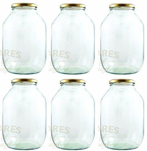 Set of 6 x Half Gallon Pickle Jars with Gold Metal Twist off Lids (2372mls)