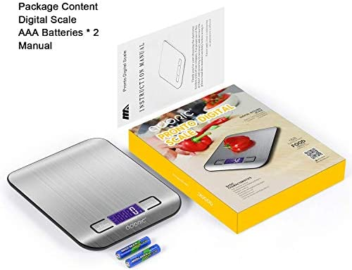 ADORIC Balance Cuisine Electronique Balance de Précision - Balance numérique de Cuisine de Haute Précision, 5kg/1g, Acier Inoxydable Tactile Sensible Écran LCD Rétroéclairé Auto-arrêt