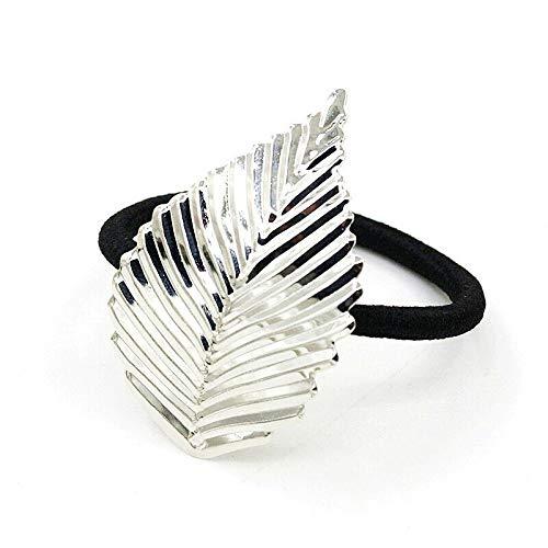 Women Lady Metal Flower Leaf Hair Band Rope Headband Elastic Ponytail Holder New (Styles - Silver Leaf)