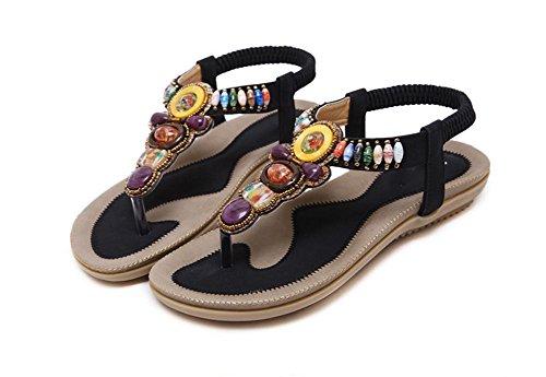 zapatos planos de las sandalias de cuentas de gran tamaño de los zapatos 42-44 Black