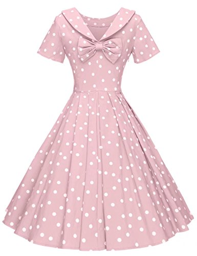 Audrey Women's Dot Dresses Vintage Hepburn Pink GownTown Dresses 1950s Style Party Polka tYdaOw