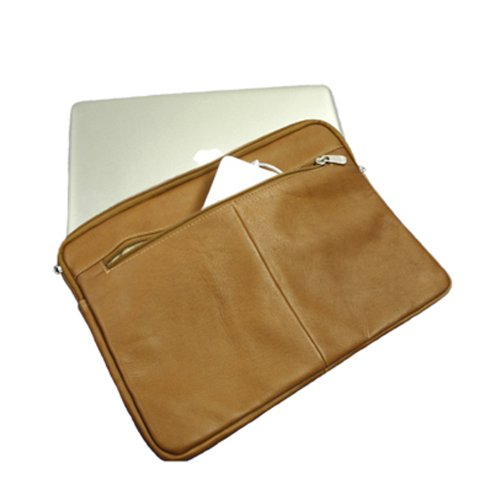 Piel Leather 15 Inch Zip Laptop Sleeve, Saddle, One Size