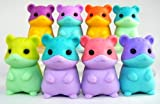 Set of 6 New Iwako Japanese Puzzle Erasers - Colored Belly Hamsters