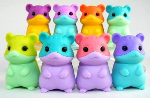 Set of 6 New Iwako Japanese Puzzle Erasers - Colored Belly Hamsters by iwako (Image #1)