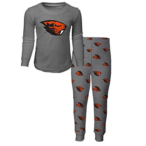 NCAA Oregon State Beavers Children Boys Sleepwear Long sleeve Tee & Pants Set, Large(7), Heather Grey