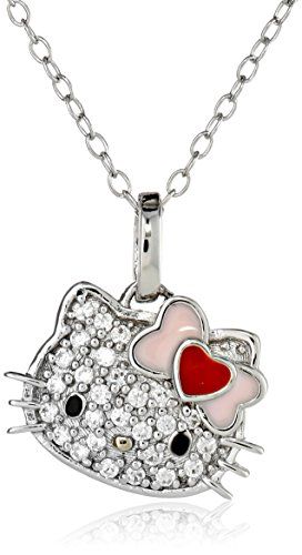 Hello Kitty Sterling Silver Heart Bow Swarovski Crystal P...