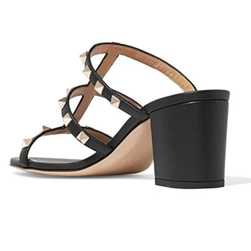 Scarpe Tacco Tacco Donna 1 MRB02 5cm Con Donna Sandali Col alto Black Jushee Pu aperta da alto Sandali Paio Pantofola e Punta Sandali Ciabatte Con Uxq6tXq