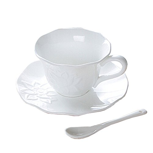 Classical Simple style Tea Cup Ceramic Coffee Mug Pure White by Kylin Express (Image #2)
