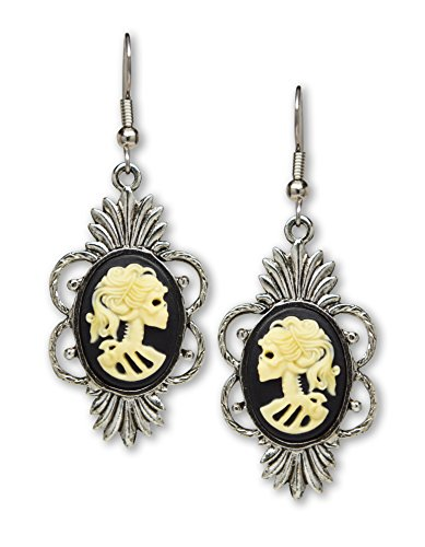Gothic Lolita Skull Cameo Dangle Earrings Ivory on Black In a Silver Finish Frame]()