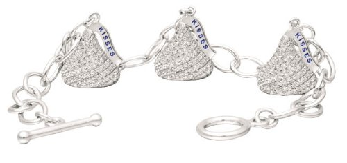 Hershey's Kiss Jewelry Sterling Silver with CZ Medium Flat Back Shaped Bracelet with Three Charms