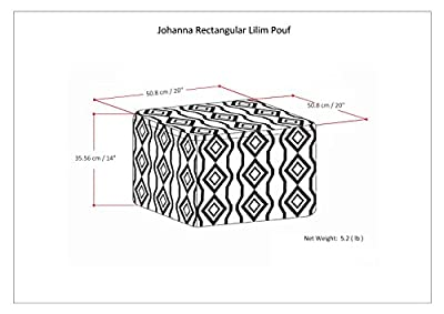 Simpli Home AXCPF-12 Johanna Square Pouf in Kilim Patterned Jute