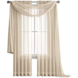 "Jane - Rod Pocket Semi-Sheer Curtains - 2 Pieces - Total Size 108"" W x 84"" L - Natural Light Flow Material Durable - for Bedroom - Living Room - Kid's Room and Kitchen (Beige)"