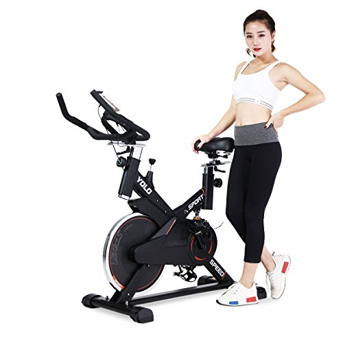 URSTAR Indoor Fitness Cycle Bike Spin Bike with Computer Monitor and Heart Pulse Sensors (New Black) URSTAR