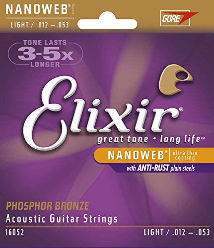 Elixir Strings Phosphor Bronze Acoustic Guitar Strings w NANOWEB Coating
