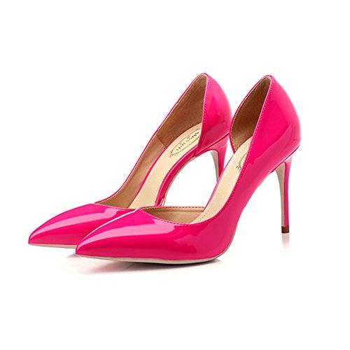 YIXINY Zapatos de tacón M388-6 Zapatos Mujer Goma PU+ Lado Vacía Apuntado Boca Poco Profunda Fine Talón 8.5/10cm Zapatos De Tacón Alto Rosa Rojo ( Color : 8.5cm , Tamaño : EU36/UK3.5/CN35 ) 8.5cm