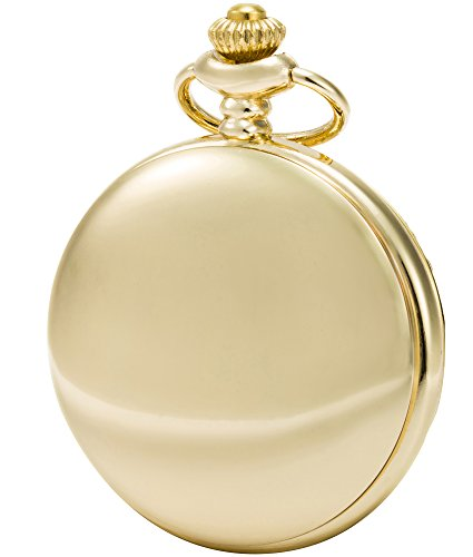 SEWOR Nice Quartz Pocket Watch Shell Dial Gold Smooth Case with Two Type Chain(Leather+Metal) (Gold) ()