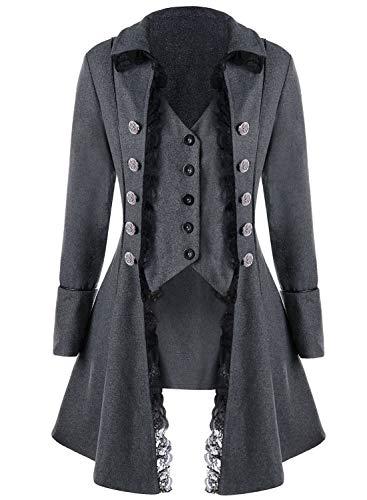 VNVNE Women's Gothic Steampunk Corset Halloween Costume Coat Victorian Tailcoat Jacket (XXXL, ()