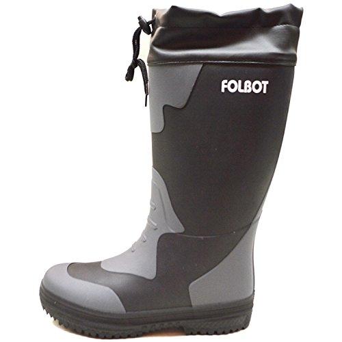 FOLBOT(フォルボット)メンズスノーブーツ/防滑防寒長靴/男性用紐付き長靴/ウレタン素材であったか防水防寒長靴FB-04Mブラック28cm