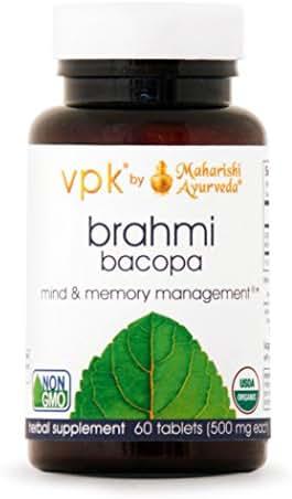 Organic Brahmi | 60 Herbal Tablets - 500 mg ea. | Natural Brain Tonic for Mental Clarity & Optimal Mental Functioning