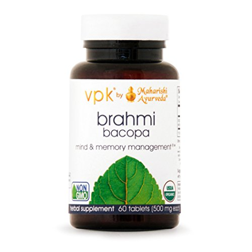 500 Mg 60 Tablets - Organic Brahmi | 60 Herbal Tablets - 500 mg ea. | Natural Brain Tonic for Mental Clarity & Optimal Mental Functioning