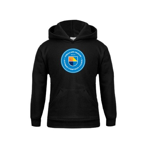 Guttman Community College Youth Black Fleece Hoodie Circle Logo