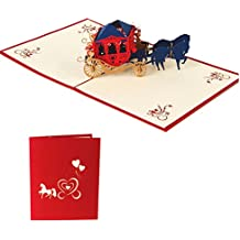Shoresu Christmas Birthday Valentine Greeting Card 3D Love Carriage Pop Up Carriage (Red Cover) 13x16 cm