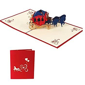 Arich 3D Pop UP Holiday Greeting Cards Valentine's Day Happy Birthday Gift--Carriage Red