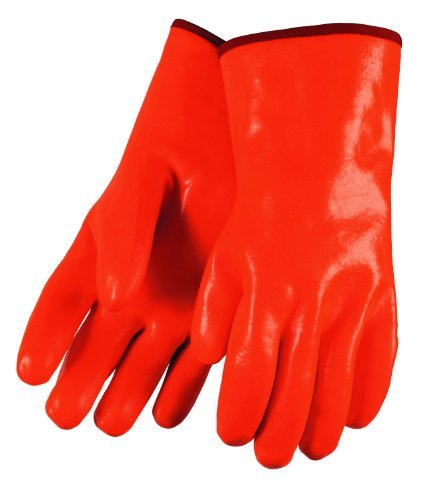 MCR Safety 6712F Economy Single Dipped PVC Foam-Lined Men's Gloves with 12-Inch Gauntlet, Orange, Large, 1-Pair by MCR Safety