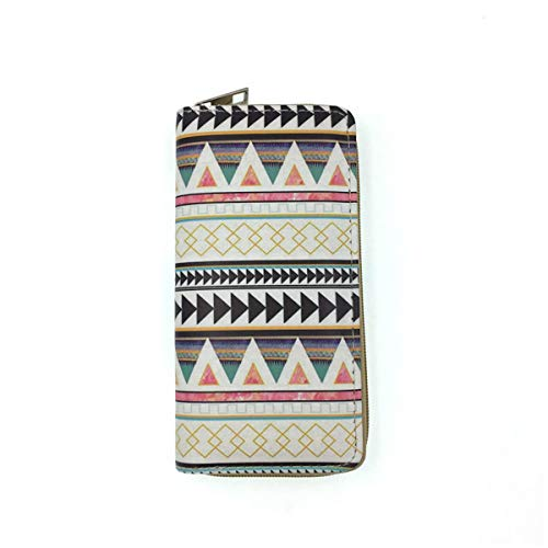 Wallet - Tribal Print Faux Leather Long Zippered Clutch You All In One Carry All (Boho 2.0)