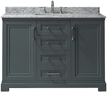d30ae0b33ef Amazon.com  Martha Stewart Living Lynn 48 in. W x 22 in. D Vanity in School  House Slate with Marble Vanity Top in White with White B  Electronics
