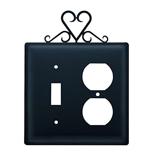 Village Wrought Iron ESO-51 Switch & Outlet Cover - (Heart Outlet)