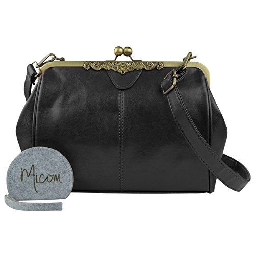 tote ysl - Vintage Style Kiss Lock PU Leather Fashionable Handle Shoulder Bag ...