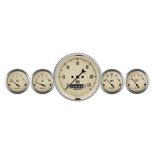 Auto Meter 1840 Antique Beige Fuel/Oil/Speedo/Volt/Water 5 Gauge Set (Chrysler Oil Pressure Switch Socket)