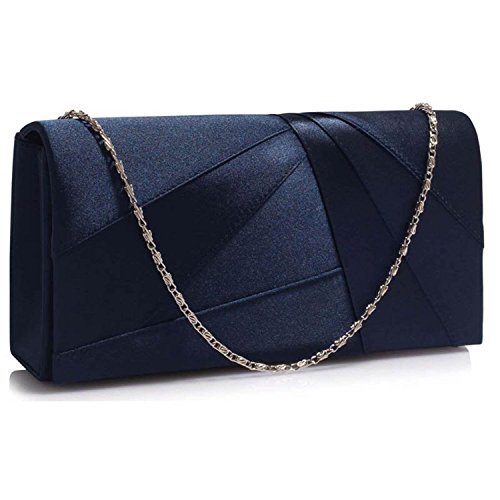 Glitter Women Xardi Bridesmaid Navy Clutch Pleated Evening Satin Ladies Plain London Bridal Bags Wedding awTqY4