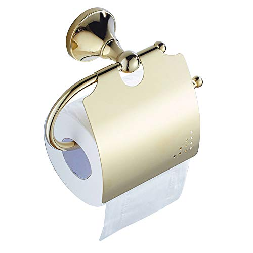 7Trees Single Roll Brass Bathroom Toilet Paper Holder Storage Kitchen Dispenser Tissue Hanger Traditional Wall Mounted (Gold)