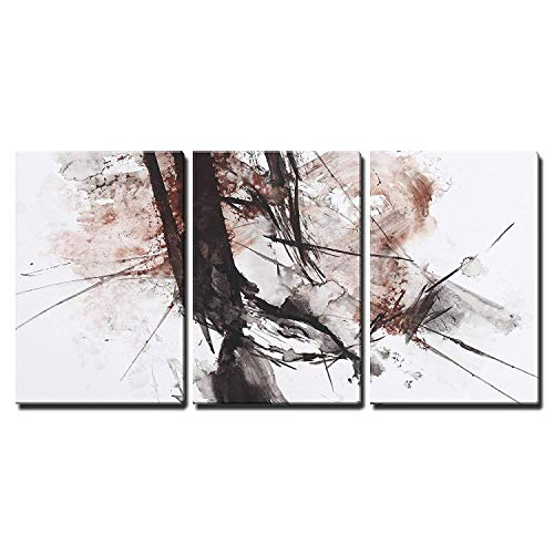 Black and Red Abstract Brush Painting x3 Panels