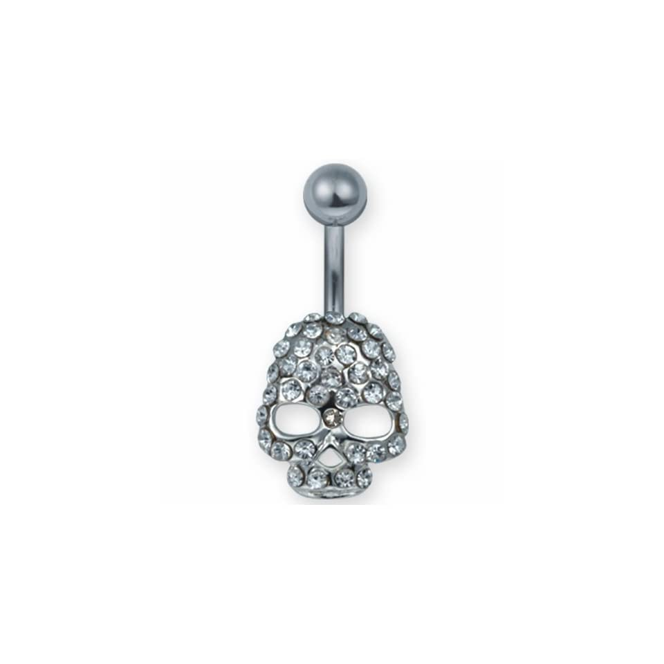 Jeweled Skull Belly Ring with Clear Stones Jewelry